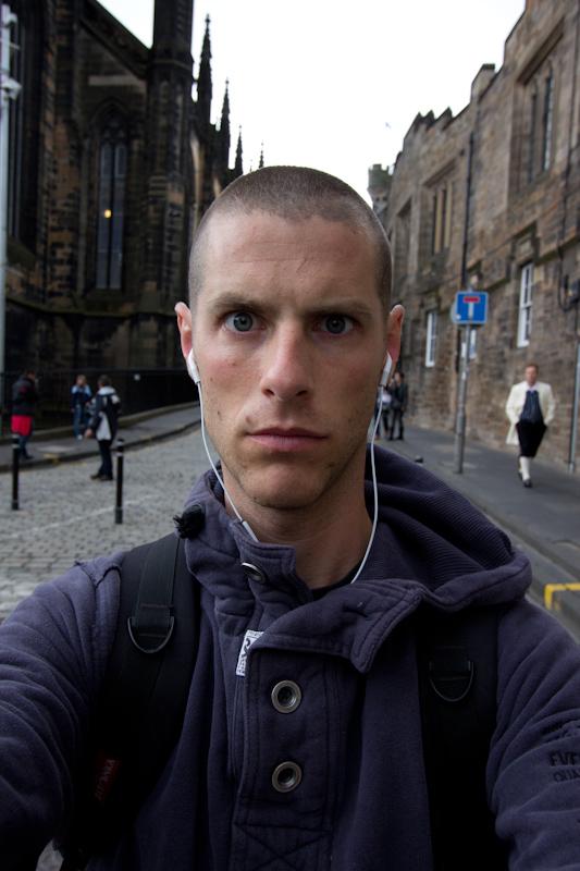 Edinburgh: Self portrait on Royal Mile.