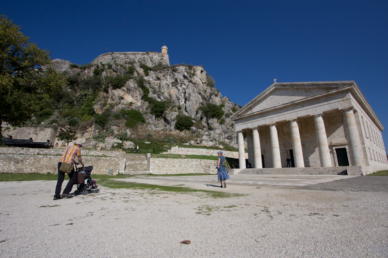 Corfu: A temple and a family.