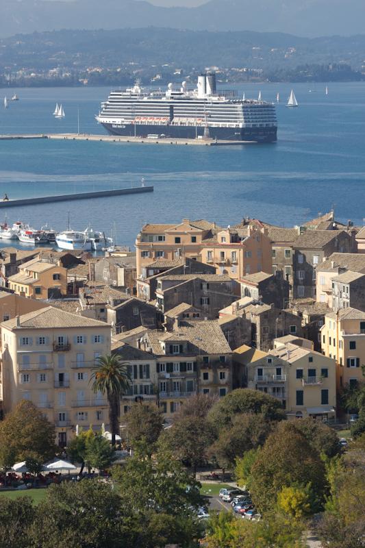 Corfu: The Nieuw Amsterdam docked in Corfu.