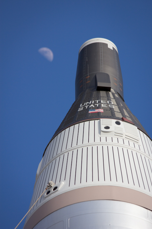 Kennedy Space Center: The Murcury capsule and the Moon.