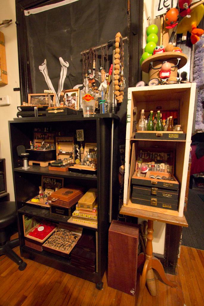 Just Colcord's Apartment: His apartment contains many cabinets of curiosities. And what are some of those curiosities?