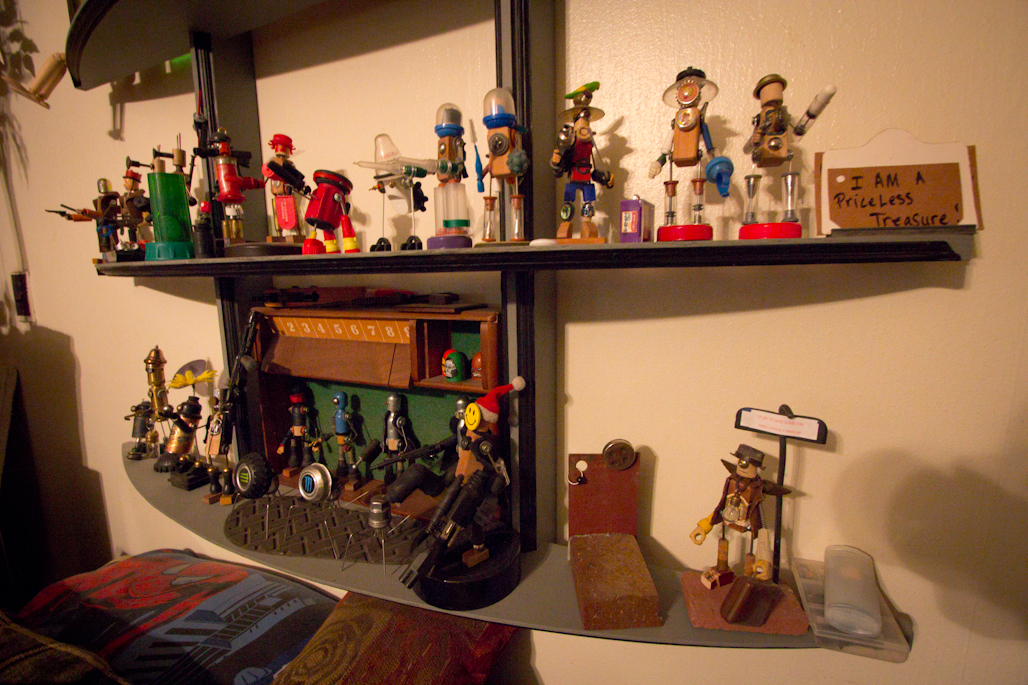Just Colcord's Apartment: More toys made from found objects.