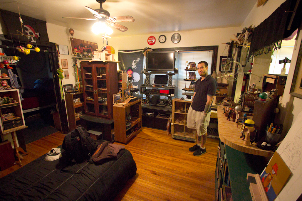 Just Colcord's Apartment: Just has been making toys, and experimenting with stop motion movies featuring those toys, for only one year. He's always been an obsessive collector of interesting trinkets and small bits of junk, and making them into toys is one way of channeling his energies.