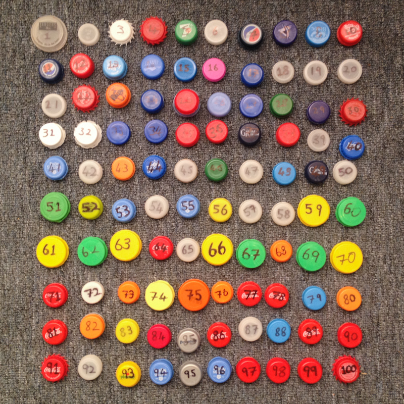 All the bottle tops.