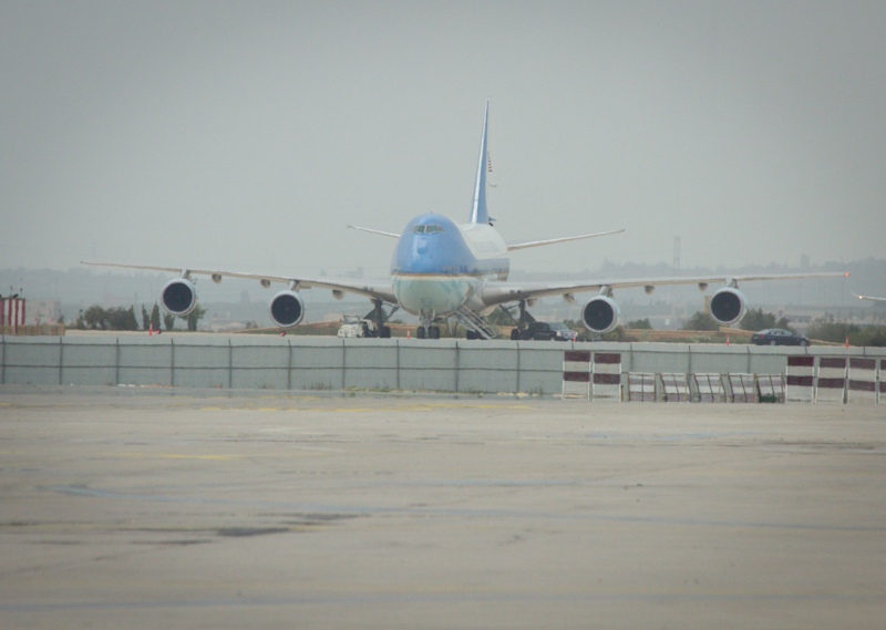 Air Force One: Spotted at the brand new Queen Alia International Airport. When I visited Petra yesterday I spotted secret service vehicles ahead of Obama's visited today.