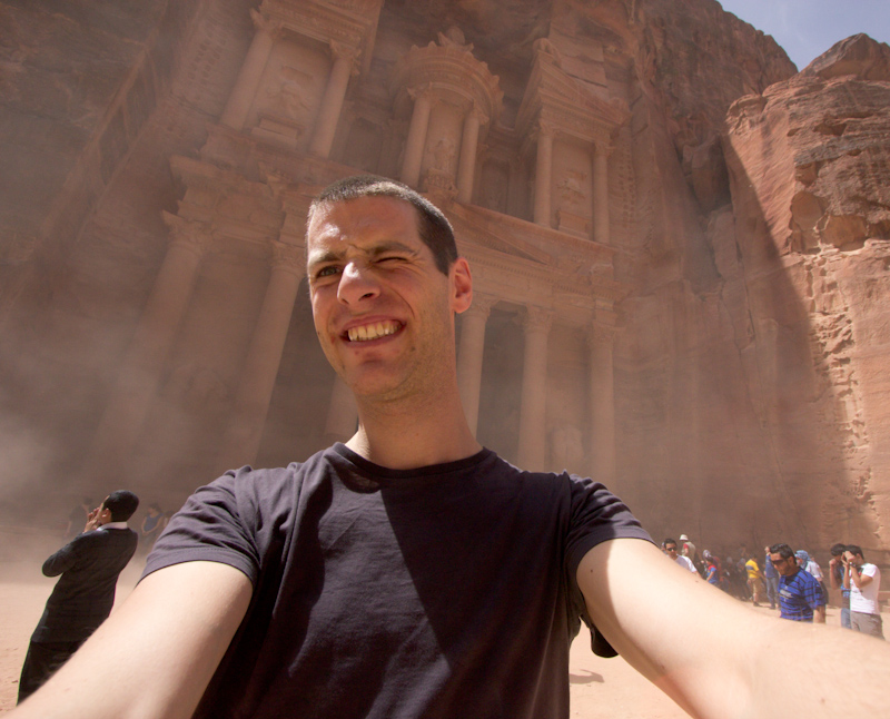 Petra, Jordan: The Treasury and me, getting a blast of wind and sand in my face.