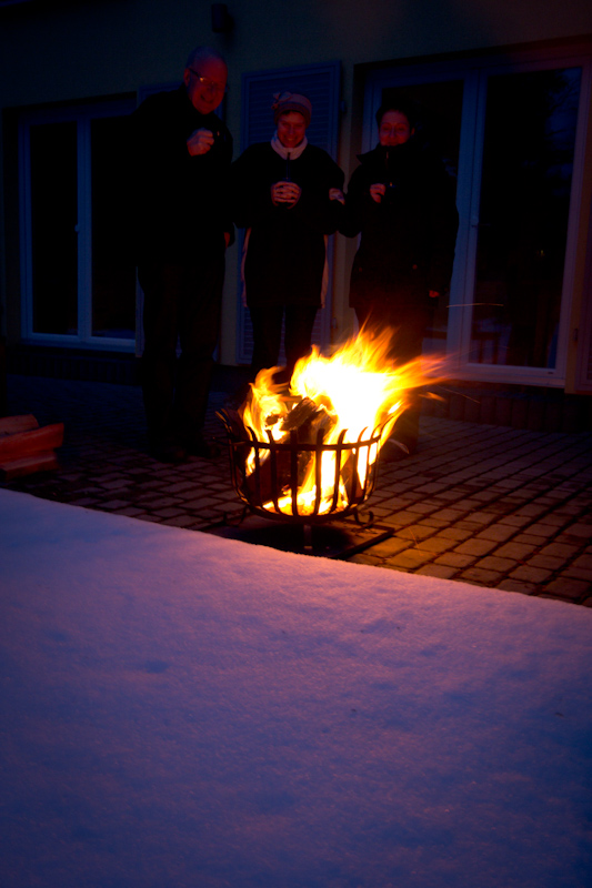 Easter Sunday: With a fire, glühwein and chocolate.