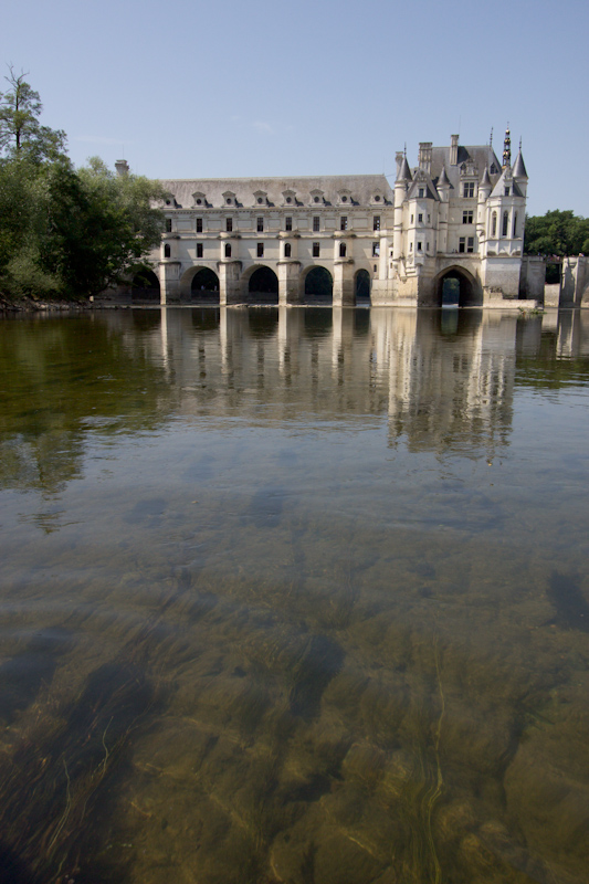 Luke and Juliane Summer Tour part 2 - Castles in the Loire Valley, Dune de Pyla and Condom: Chateau de Chenonceau. View from the canoe on the river.