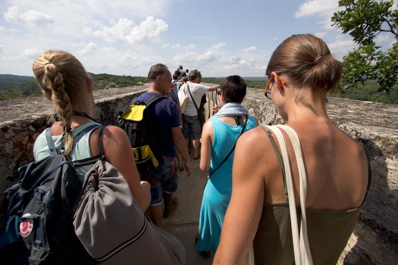Luke and Juliane Summer Tour part 3 - Pont du Gard, Avignon, Arles, Senanque Abbey, Gordes: A tour through the top level of Pont du Gard.