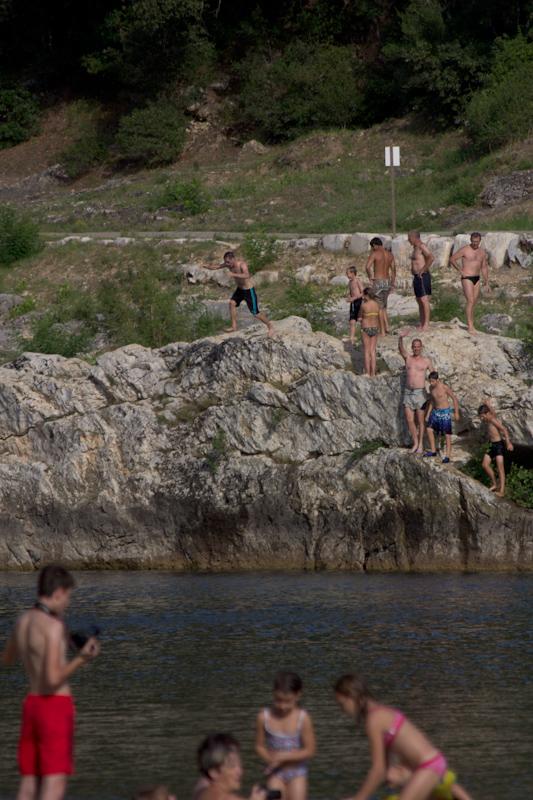 Luke and Juliane Summer Tour part 3 - Pont du Gard, Avignon, Arles, Senanque Abbey, Gordes: Swimming at Pont du Gard.