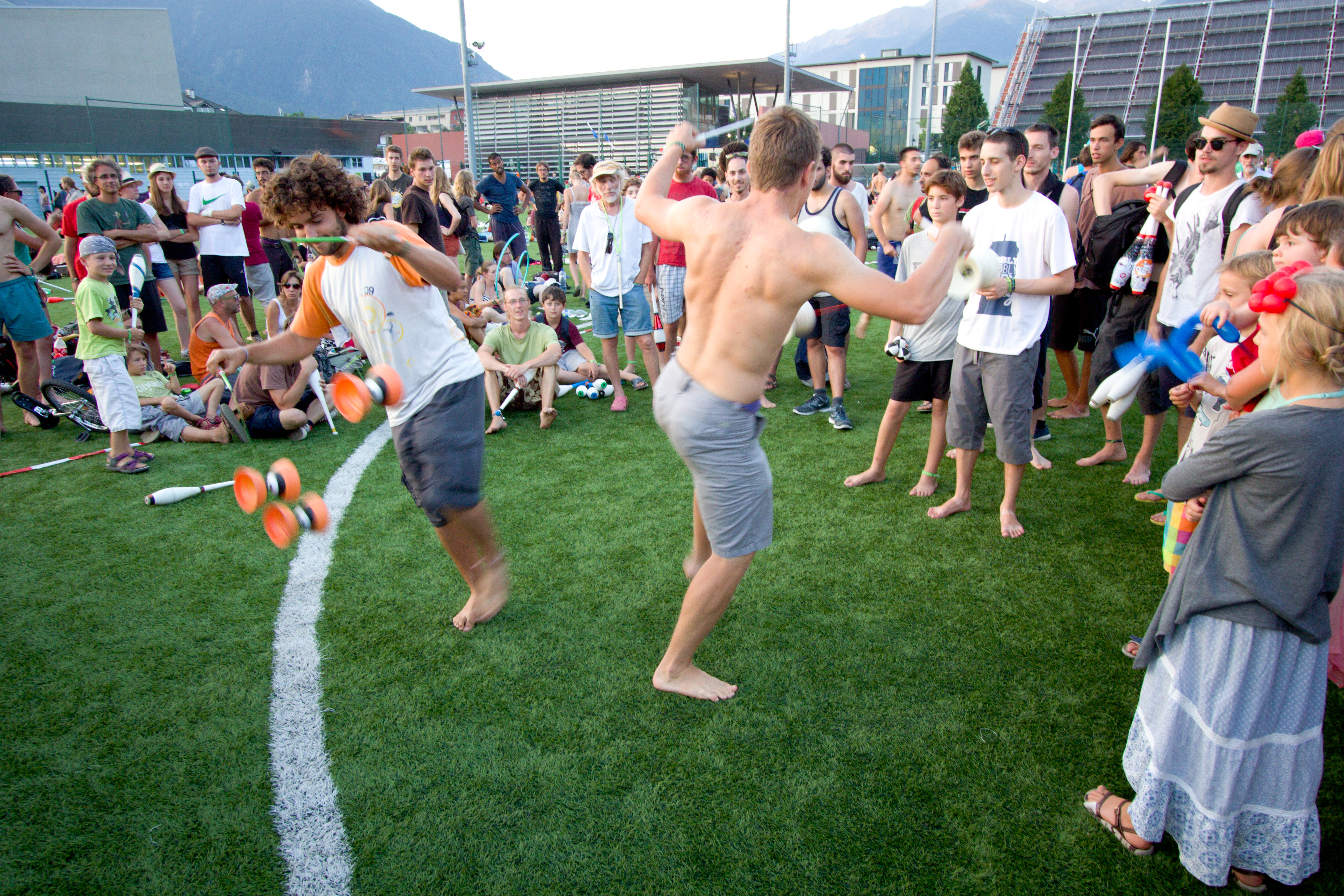EJC 2015 Bruneck - Thursday August 6th and Friday August 7th: Games and late night juggling on the soccer field.