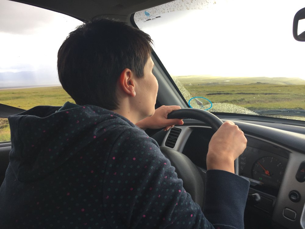 Iceland Adventure with Juliane and Luke: Juliane driving for the first time