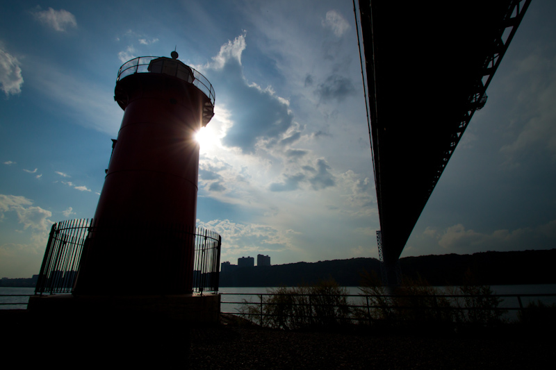 I cycled most of the way round Manhattan, keeping as close to the shore as possible. Under the George Washington Bridge I found this tiny lighthouse.