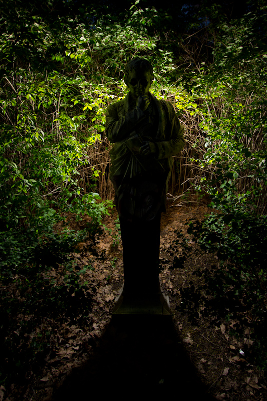 Statue: At night.
