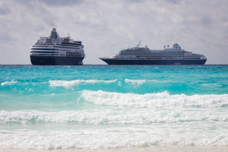 The Prinsendam: With the Maasdam at Half Moon Cay, Bahamas.