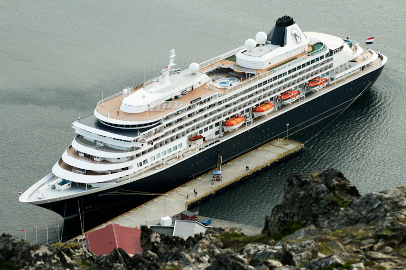 The Prinsendam: At Honningsvag, the northernmost port in mainland Europe.